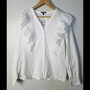Express white ruffle button down blouse size small